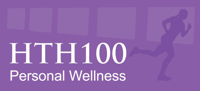 Graphic with text: HTH 100 Personal Wellness